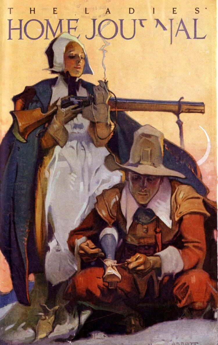 Pilgrims with gun - Cover of Ladies Home Journal 1920