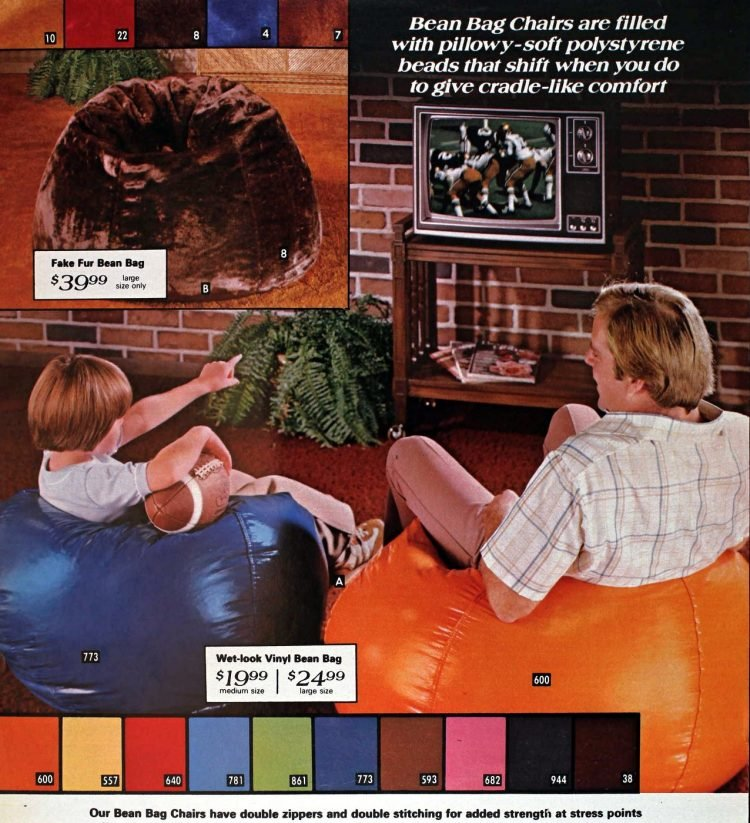 Pillowy bean bag chairs from the 1970s