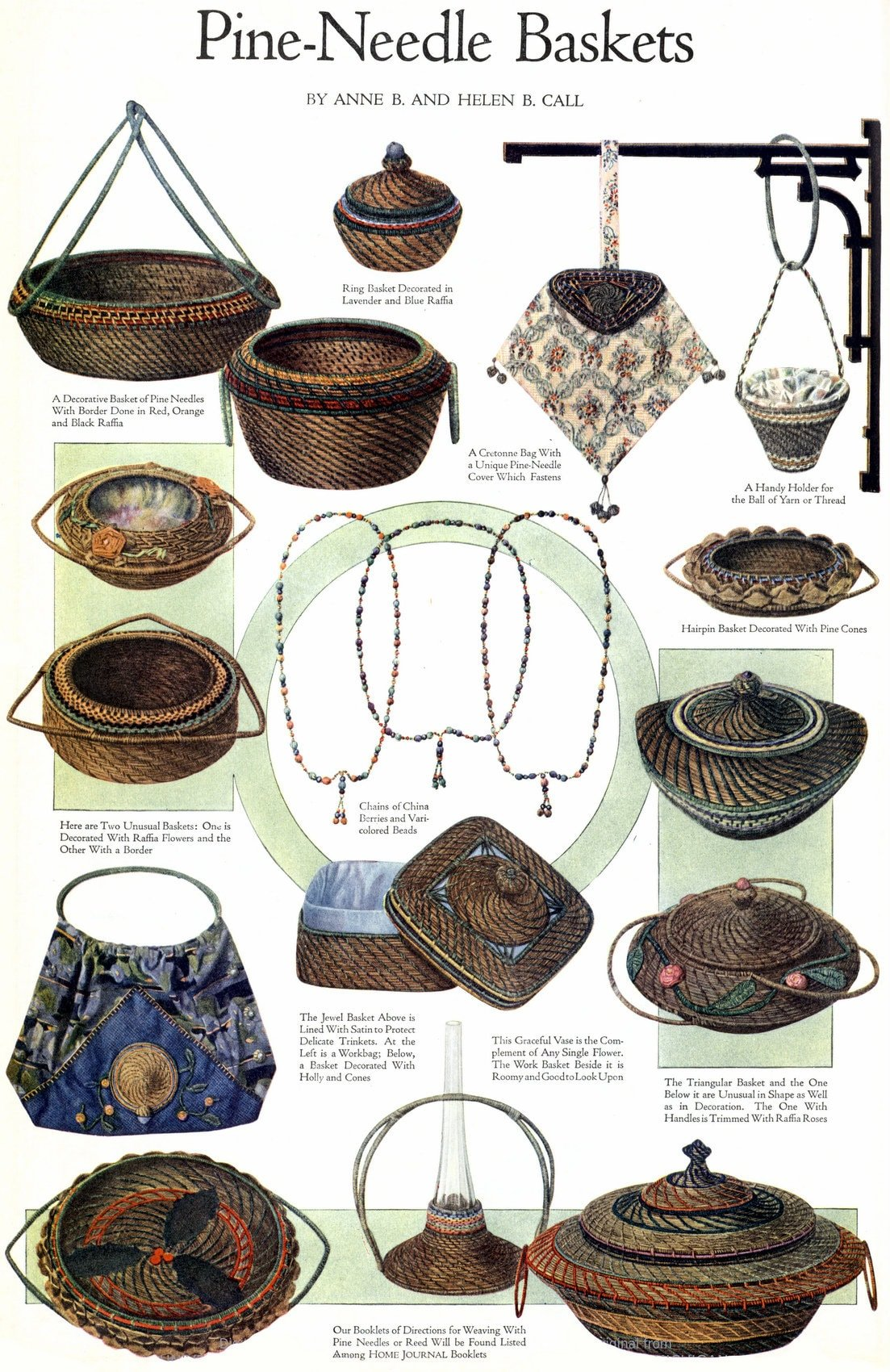Pine needle baskets and crafts (1920)