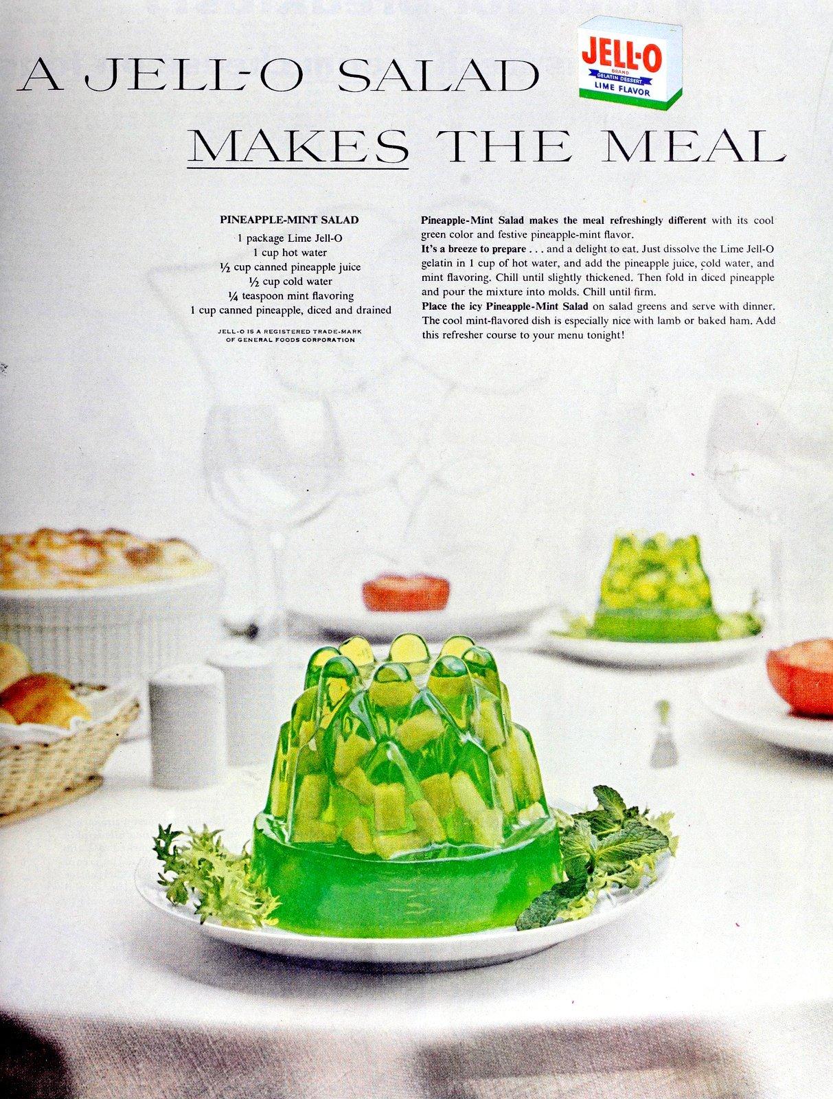 Pineapple-mint Jello salad mold recipe (1956)