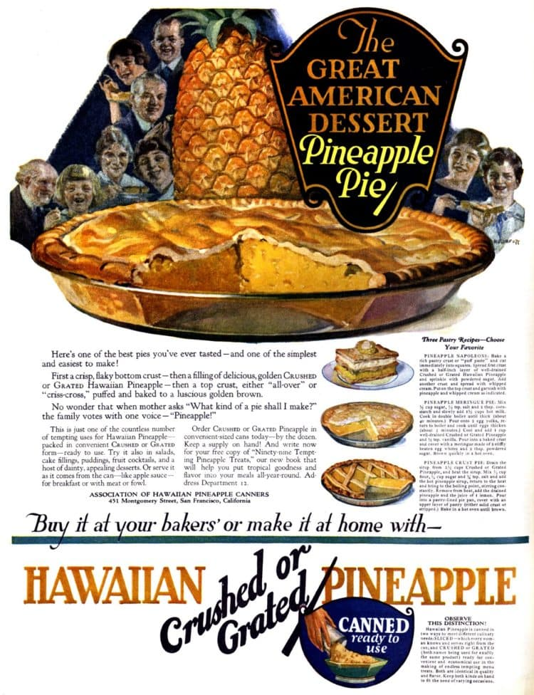 Pineapple pie recipe 1922