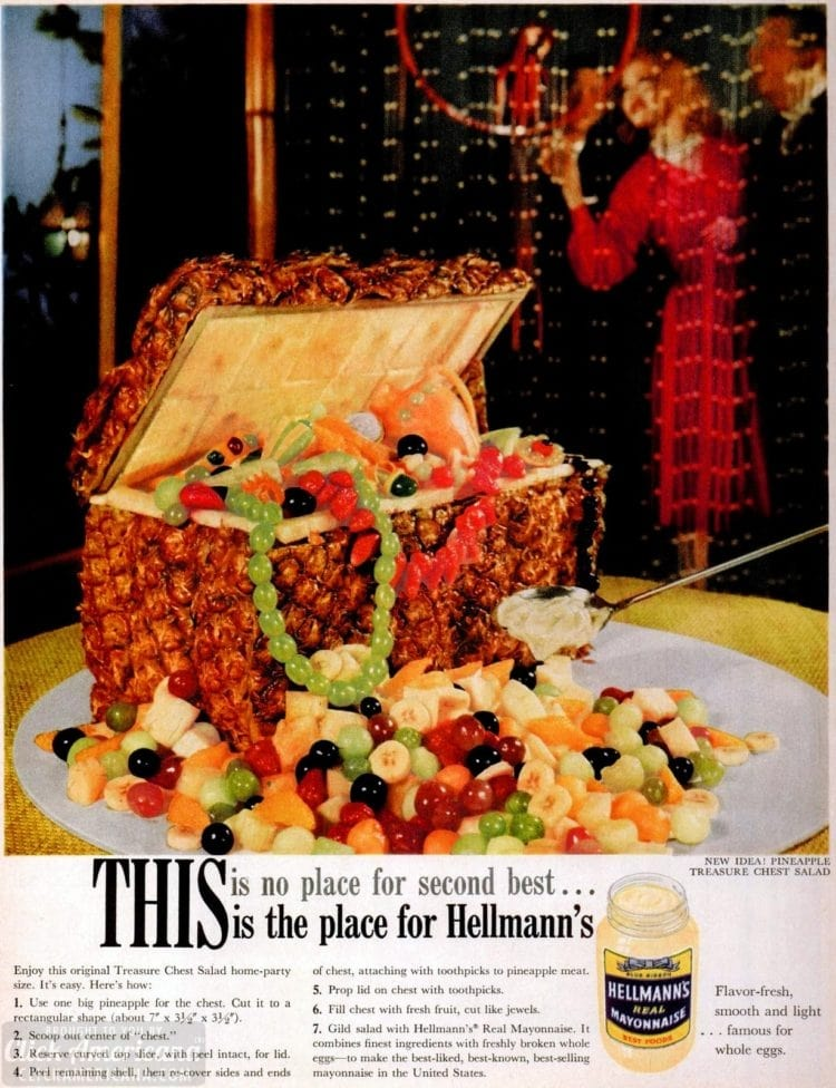 Pineapple treasure chest salad with mayonnaise (1960)