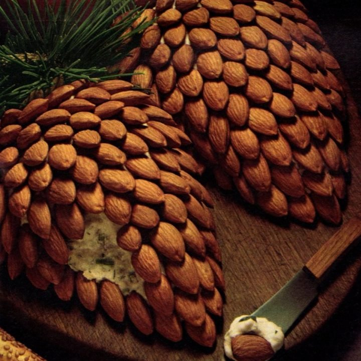 Pinecone cheeseball with almonds