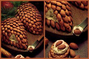 Pinecone cheeseball with almonds - Retro appetizer