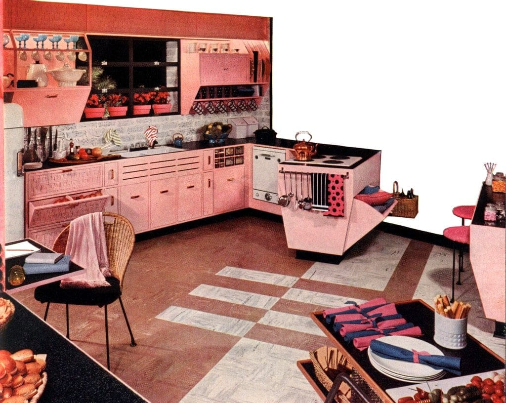 Pink Armstrong kitchen 1954