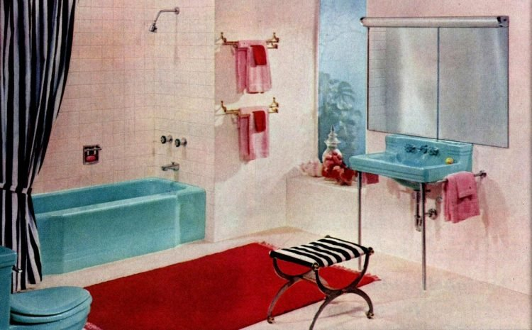 Pink and blue colorful vintage bathroom decor of 1965