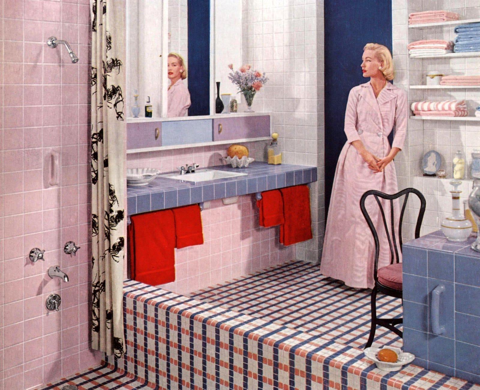 Pink and blue vintage 50s bathroom decor