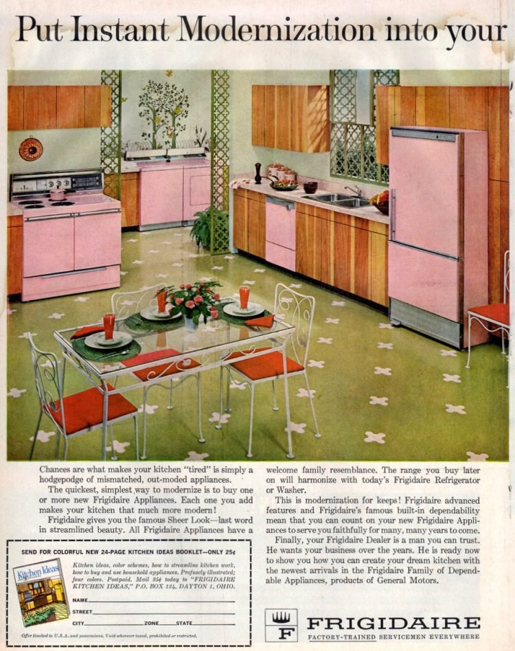 Pink and green kitchen decor from the 1950s