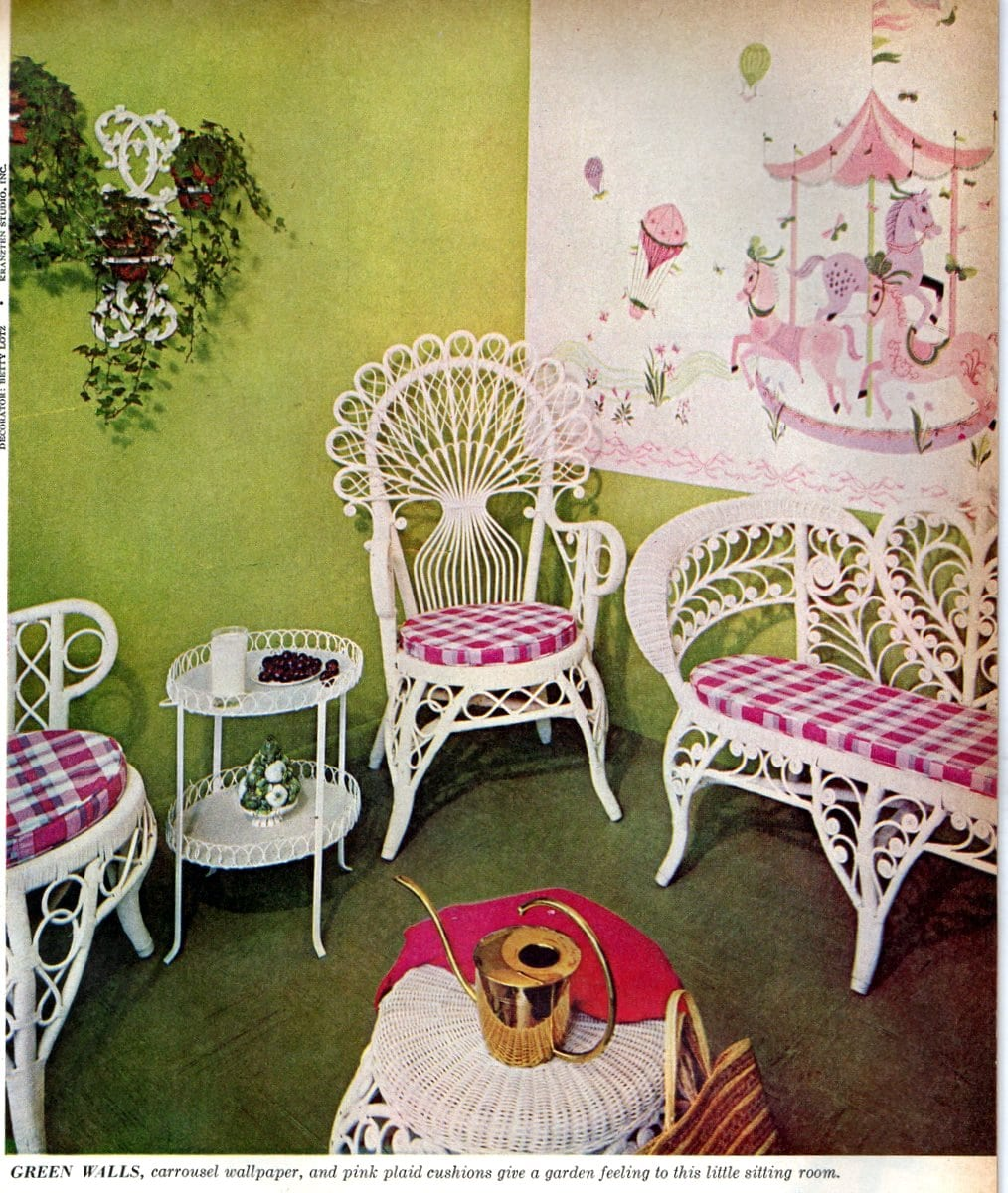 Pink and white wicker bedroom (1959)