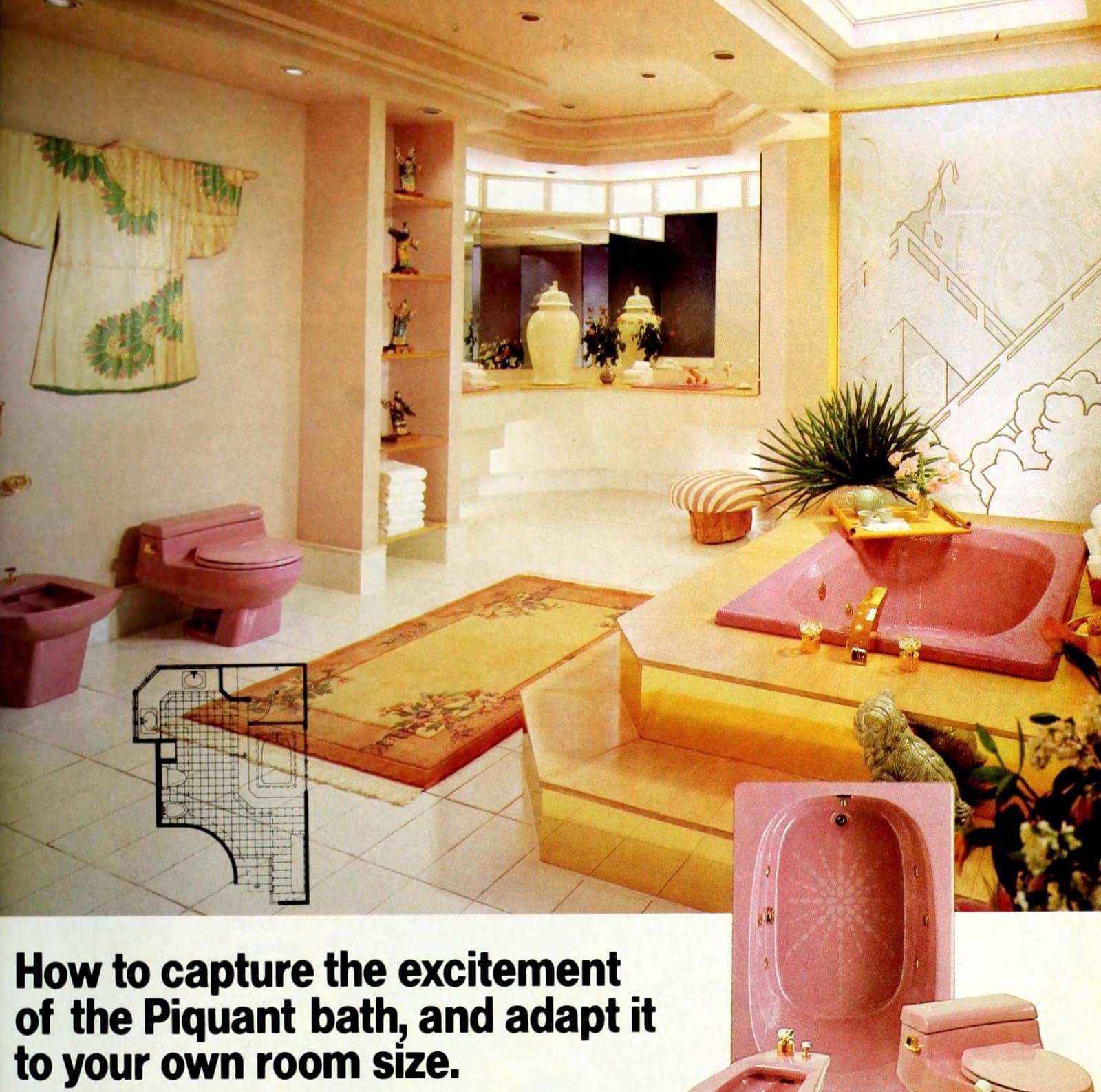 Pink and yellow Asian-inspired 80s bathroom decor (1986)
