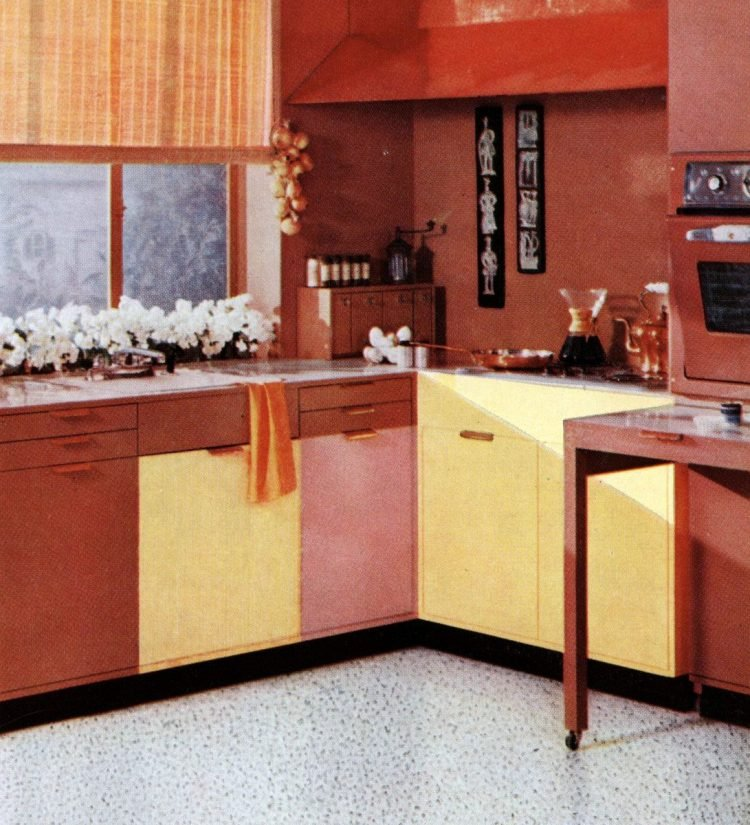 Pink and yellow kitchen 1957