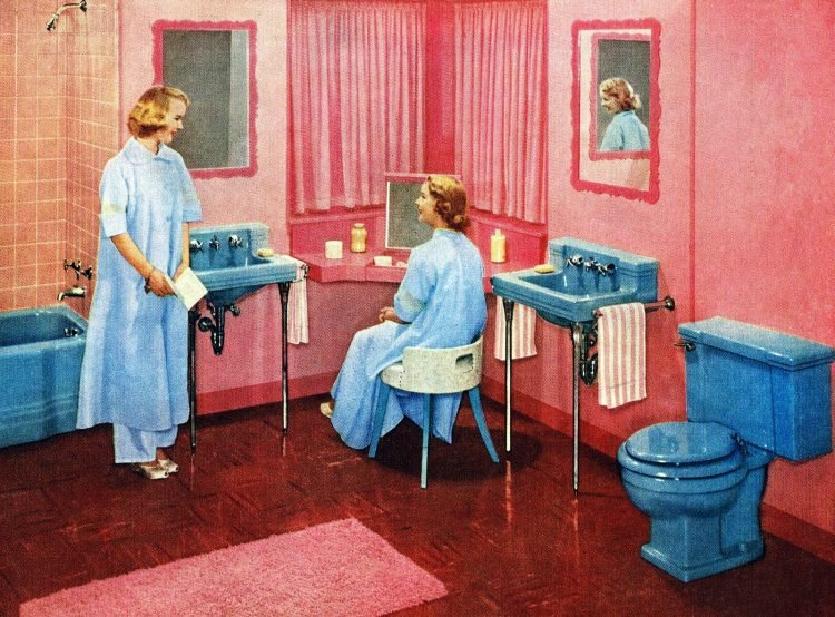 Pink bathroom with blue fixtures from 1953 - American Standard
