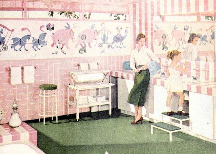 Pink children's bathroom from 1956