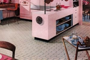 Pink kitchen with retro brick linoleum from 1956