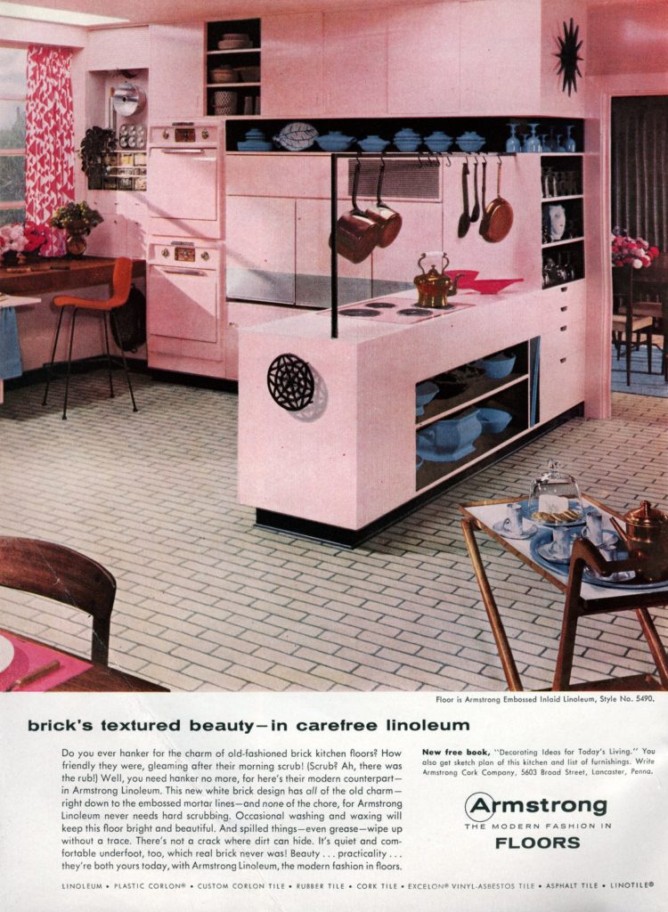Pink kitchen with retro brick linoleum floor from 1956