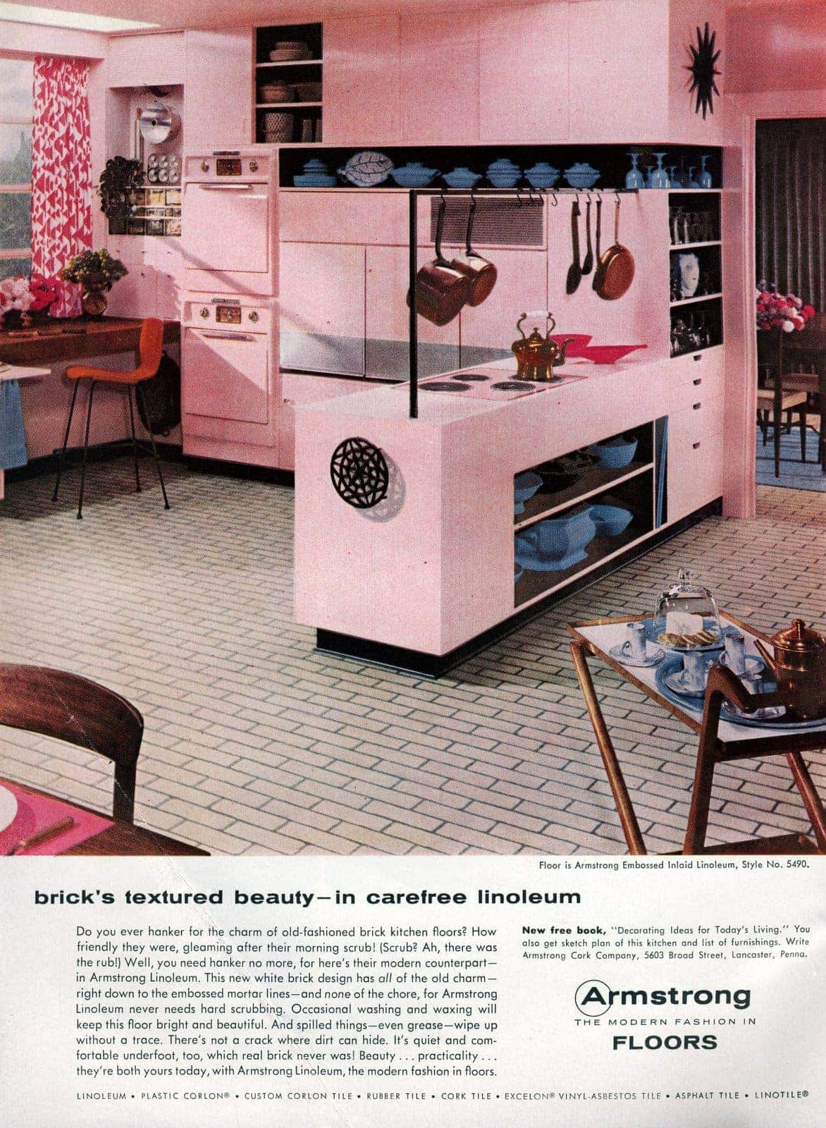 A White Brick Linoleum Floor For Your Pink Kitchen Why Not It