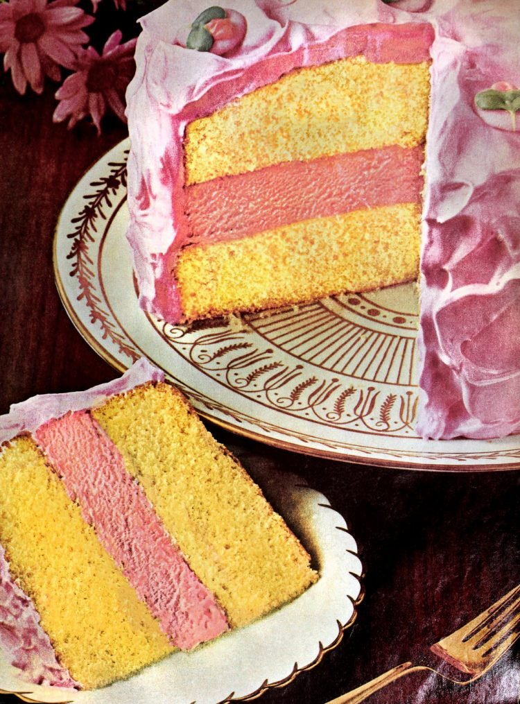 Pink lemonade ice cream cake