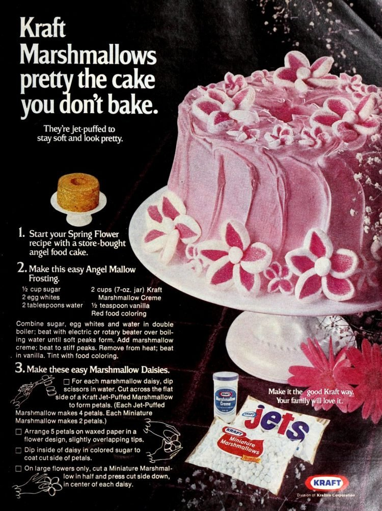 Pink marshmallow flower cake from 1975