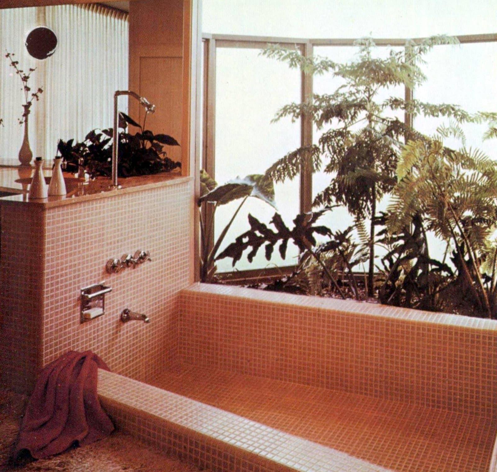 Pink mosaic vintage bathroom tile design ideas