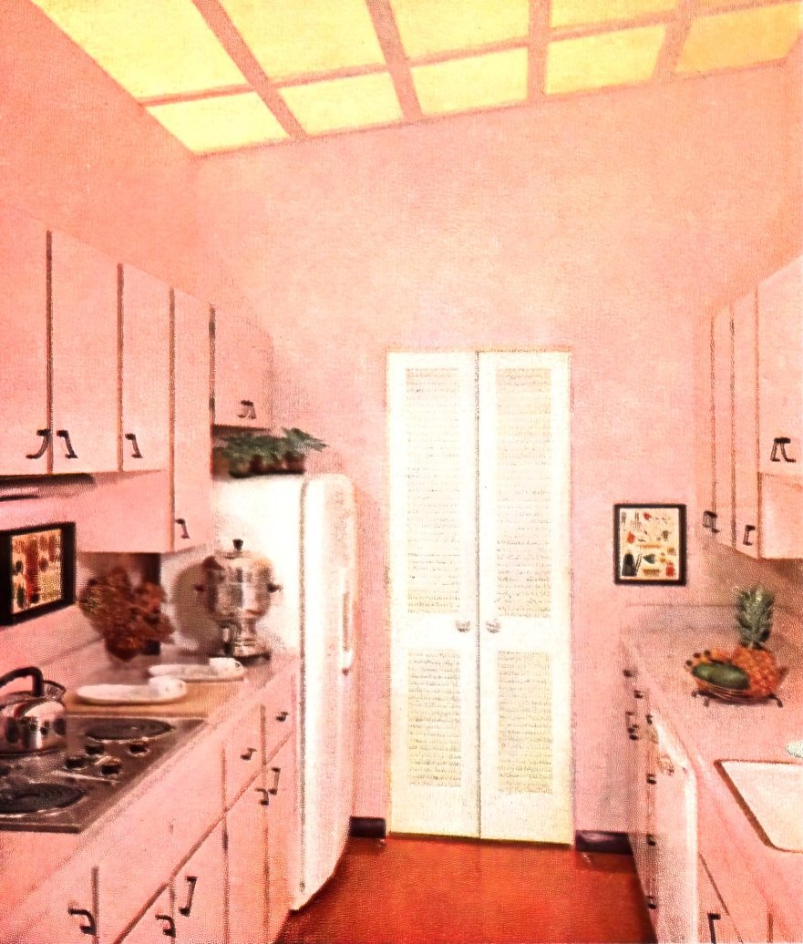Pink painted fifties-style kitchen