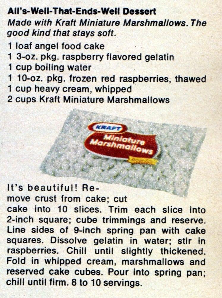 Pink raspberry-angel food dessert (1970)