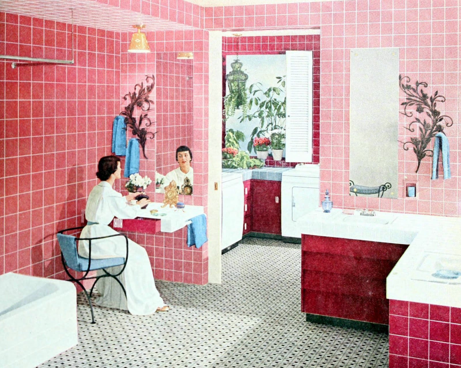 Pink retro bathroom decor from 1954