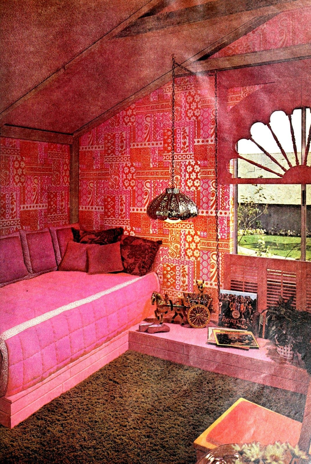 Pink retro bedroom with in vintage style (1970)