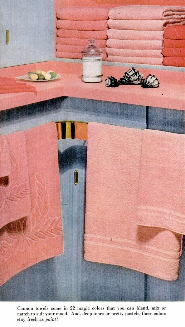 Pink towels and sculpted vintage designs - 1950s