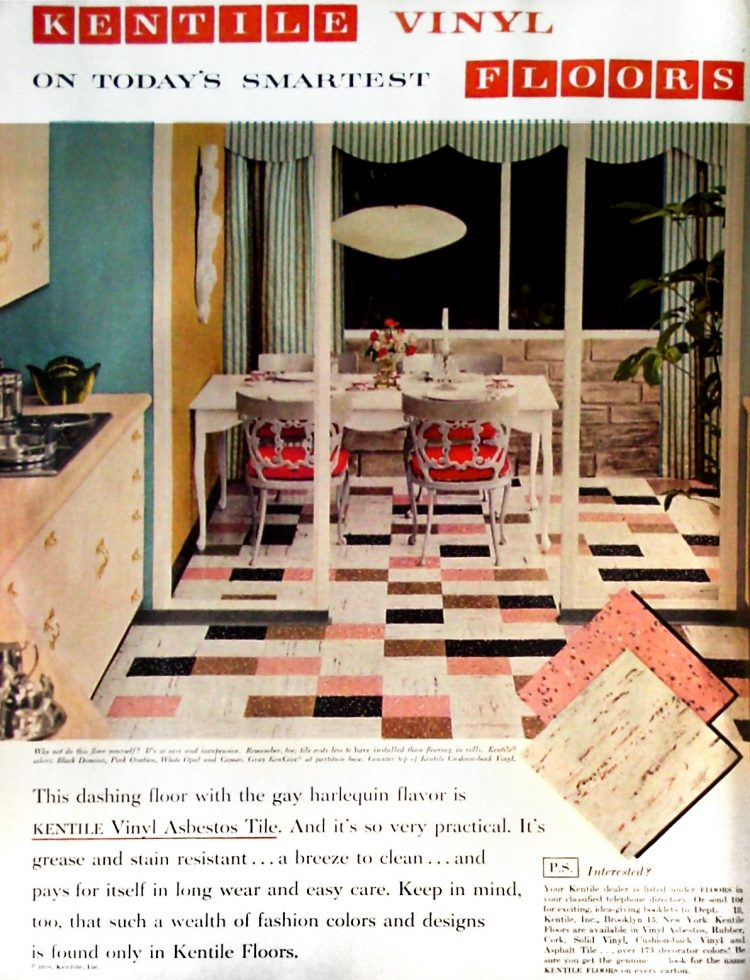 Pink, white and black kitchen tile home decor from 1958