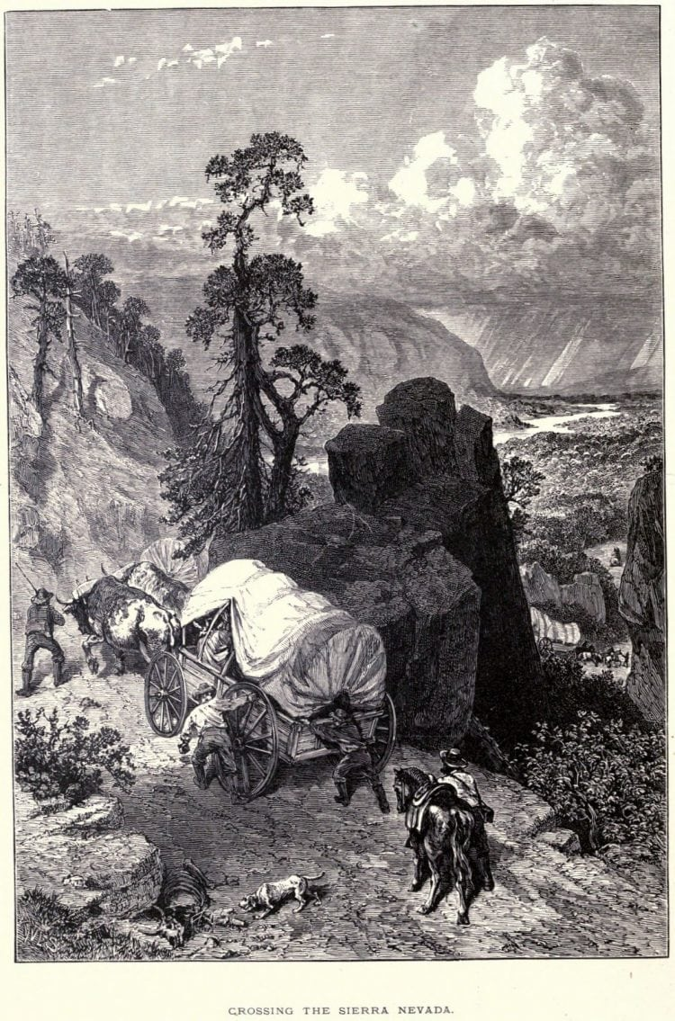 California Gold Rush - Pioneers and prospectors crossing the Sierra Nevada in covered wagons c1849