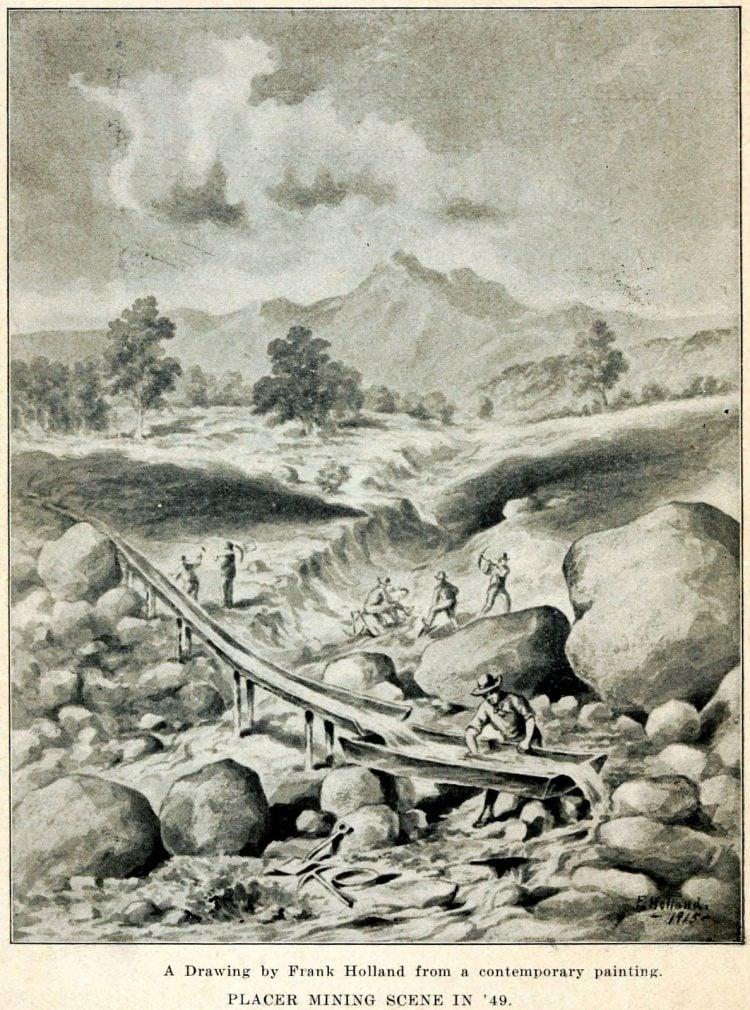 Placer mining scene in 49 - California gold