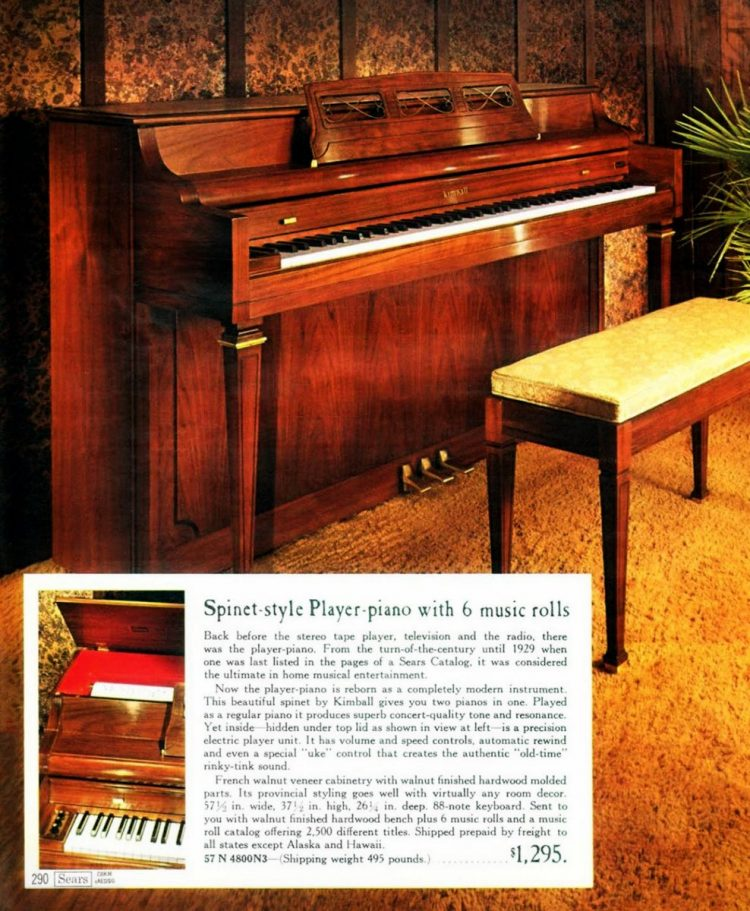 Player piano in 1968 Sears Wish Book Christmas catalog