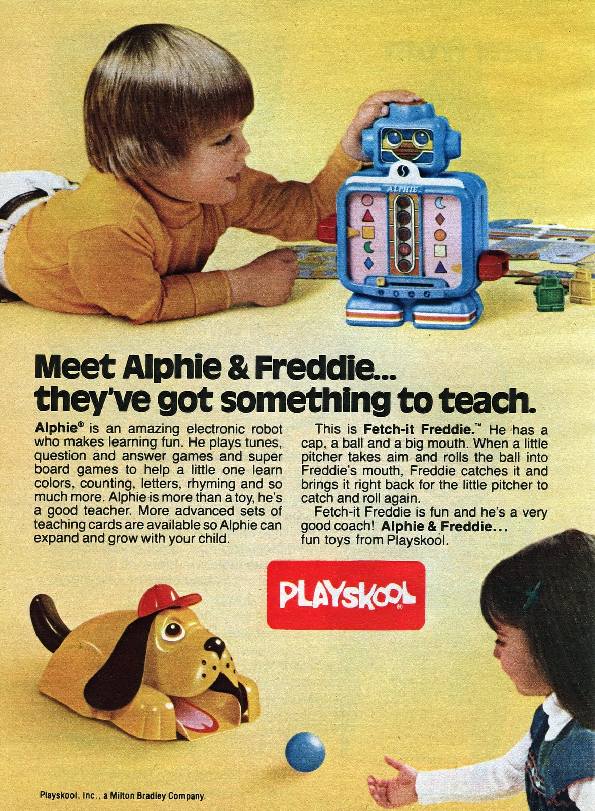 Playskool's Alphie and Freddie vintage toys (1979)
