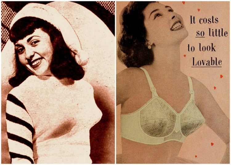 Pointy vintage bras