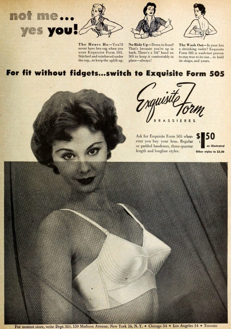 Pointy vintage bras from 1954