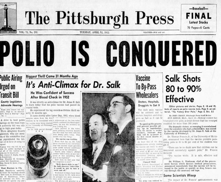 Polio vaccine front page headlines - Pittsburgh Press Tue Apr 12 1955