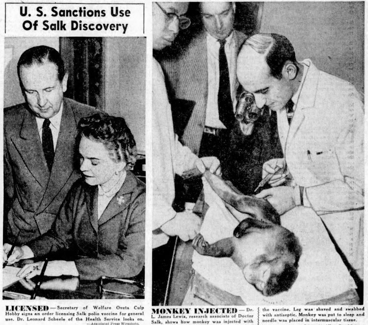 Polio vaccine invented and introduced - Salk - 1955 (5)