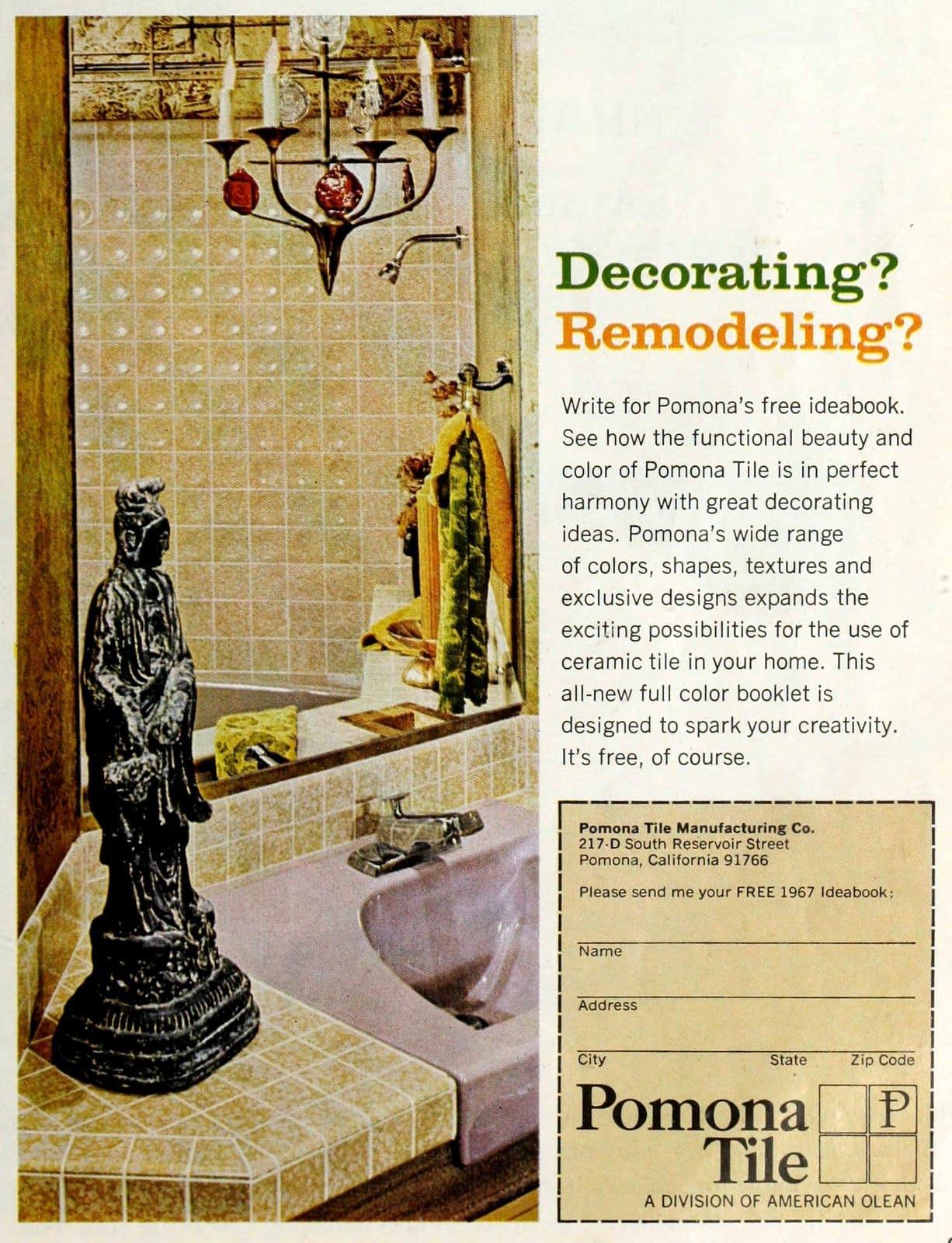 Pomona-American Olean beige-yellow bathroom tile with pale purple sink (1967)