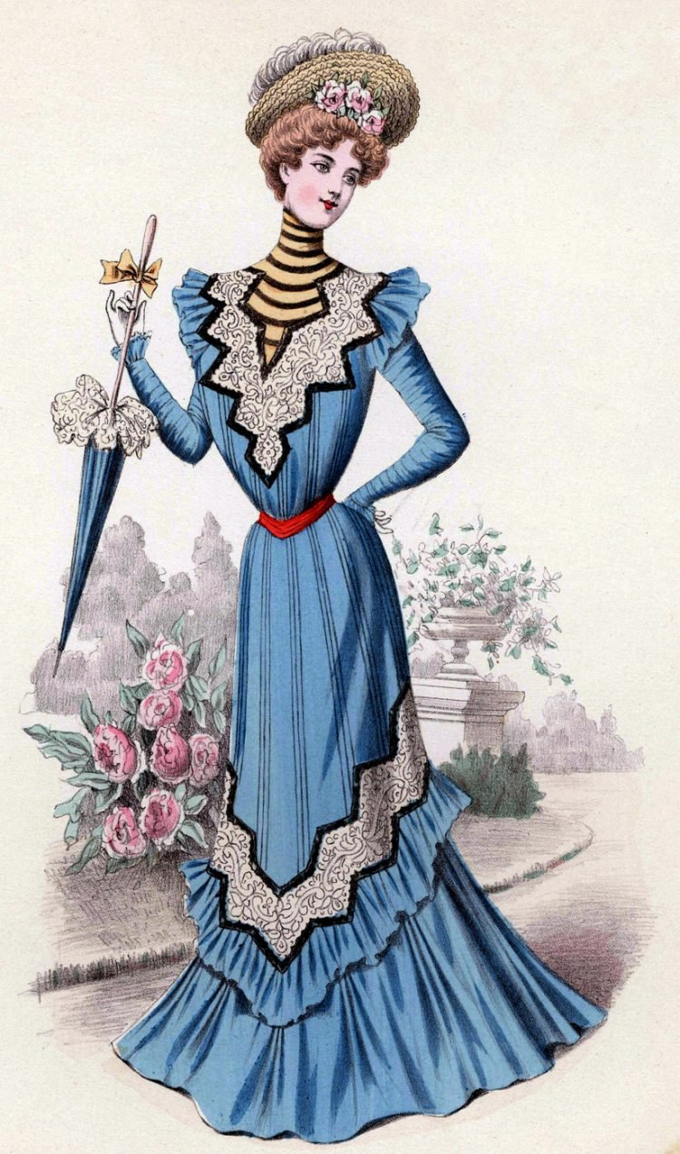 Pompadour and blue dress 1899