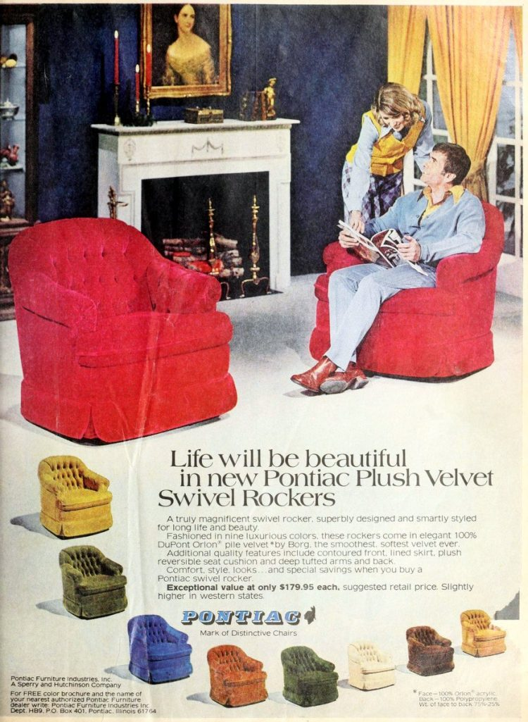 Pontiac plus velvet swivel rockers chairs 1974