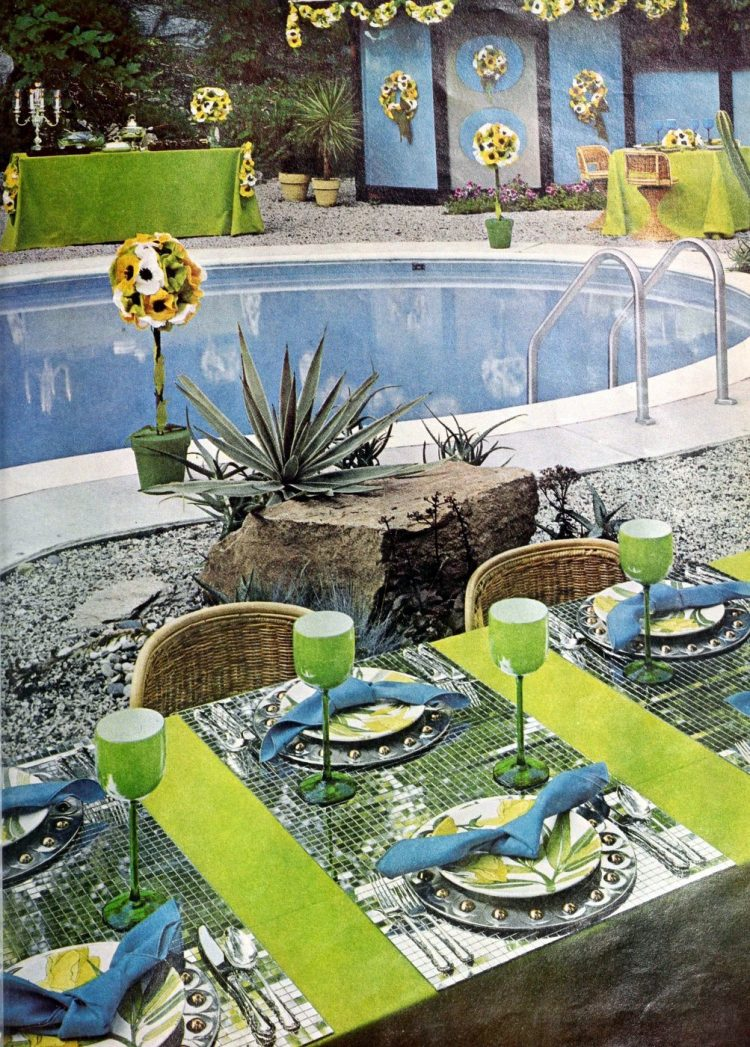 Poolside luncheon setup from 1966