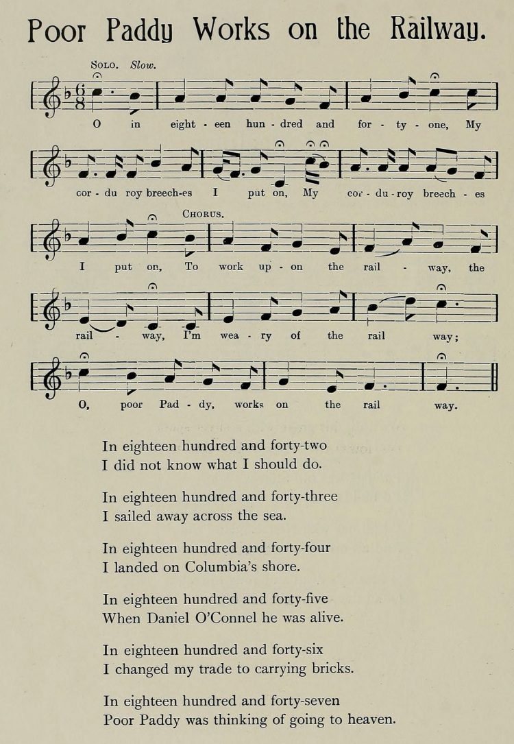Poor Paddy Works on the Railway music and lyrics - Ships, sea songs and shanties book