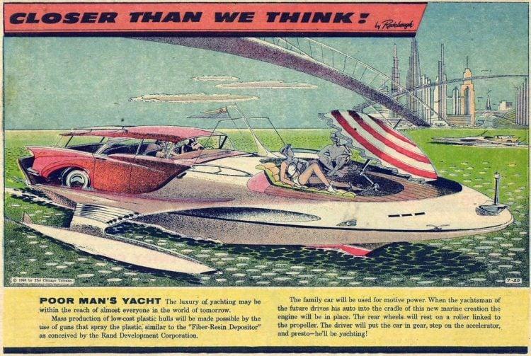 Poor man's yacht - car-boat - Futuristic vintage cartoon