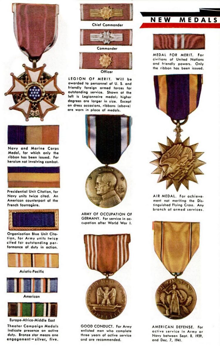 US Army & Navy shoulder insignia, plus WWII military medals