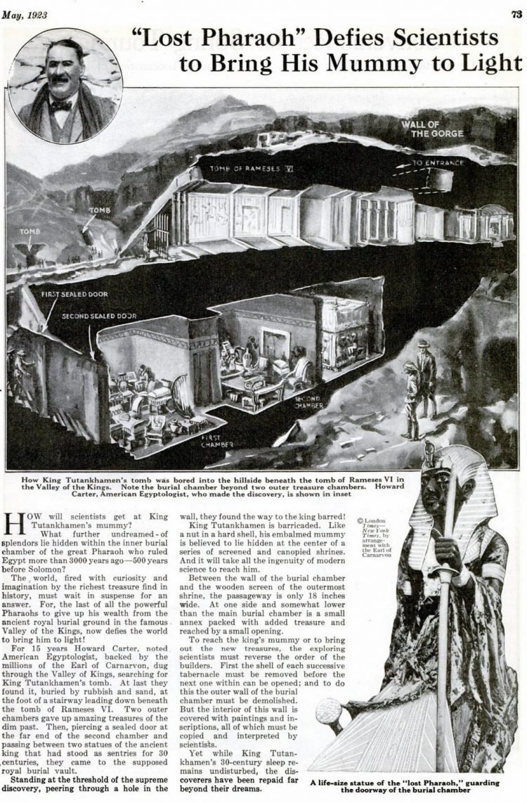 Popular Science May 1923 King Tutankhamun's mummy and tomb view