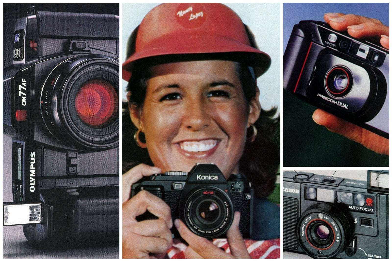Popular point-and-shoot 35mm cameras like these from the '80s revolutionized amateur photography