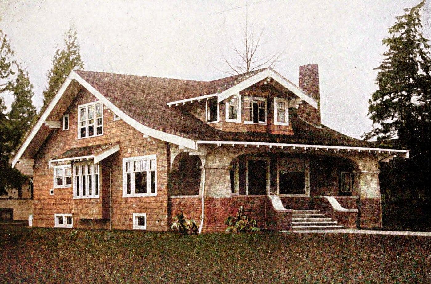 Popular vintage Craftsman home design (1912) Colorized photo