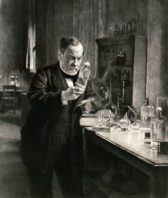 Portrait of Louis Pasteur in his lab 1892