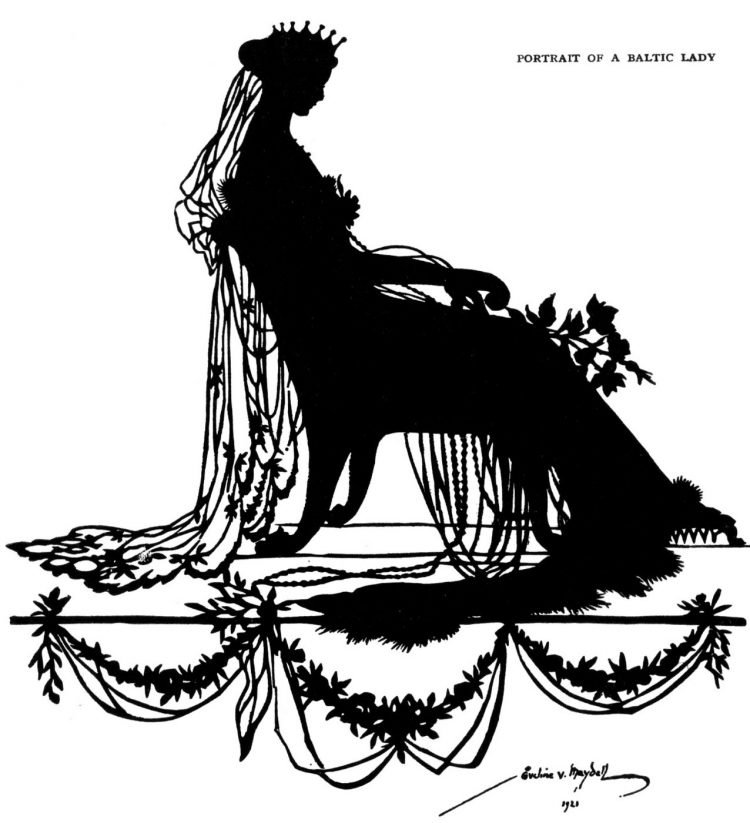 Portrait of a Baltic Lady - Silhouette art from 1921