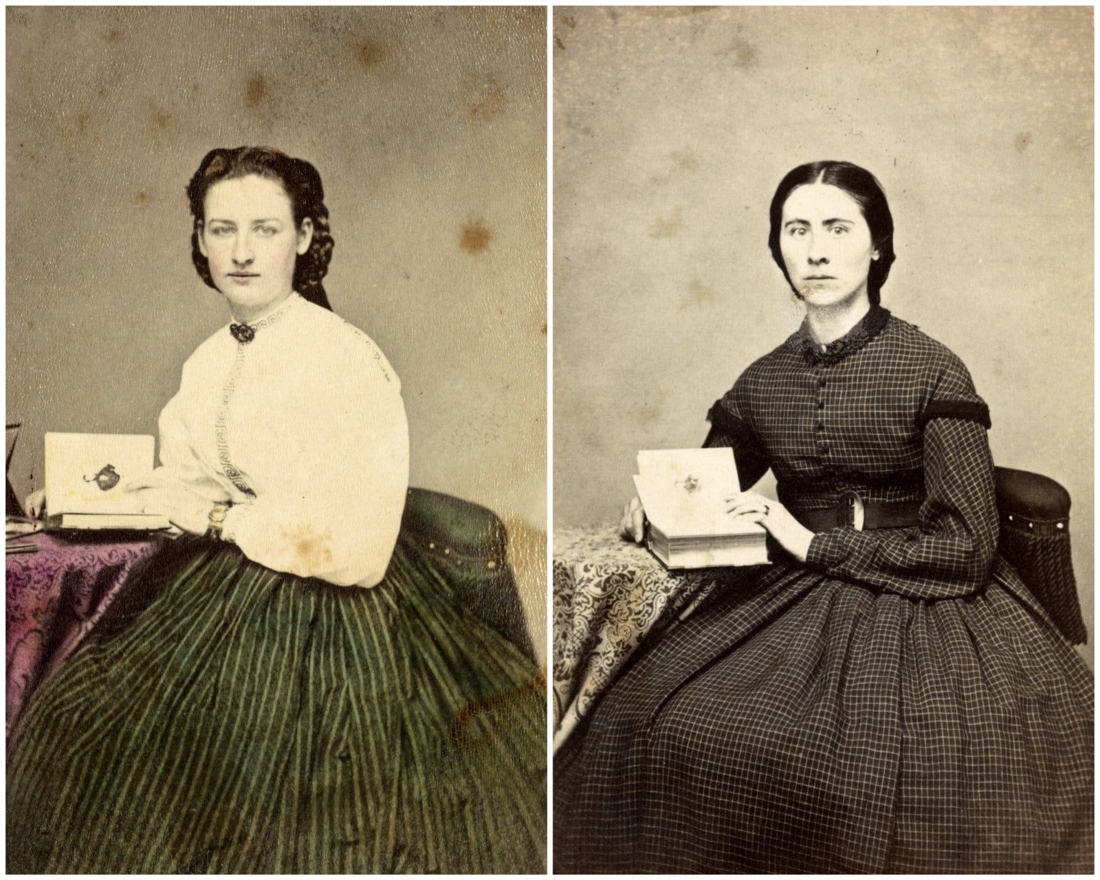Portraits of two unidentified women during the Civil War in the same studio pose